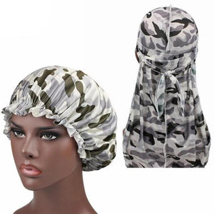 Grey Camo Silk Durag & Bonnet Set - Taelor Boutique