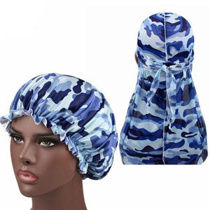 Blue Camo Silk Durag & Bonnet Set - Taelor Boutique