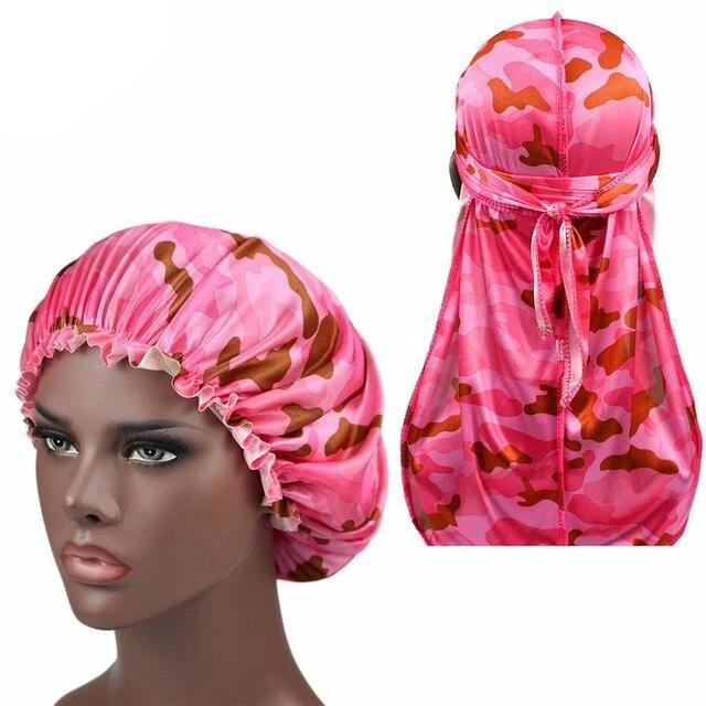 Pink Camo Silk Durag & Bonnet Set - Taelor Boutique