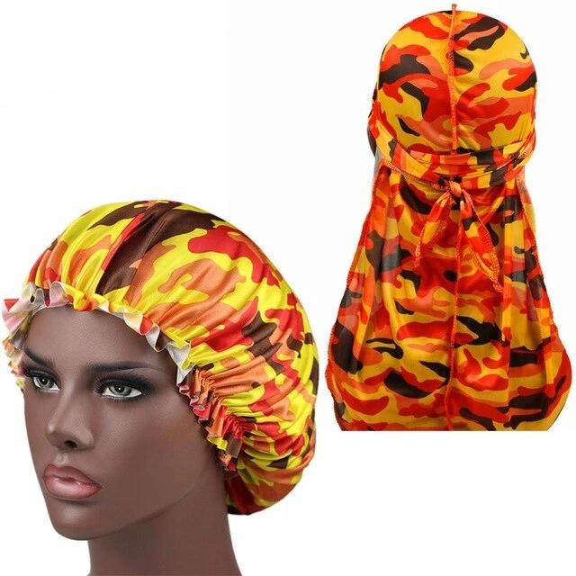Orange Camo Silk Durag & Bonnet Set - Taelor Boutique