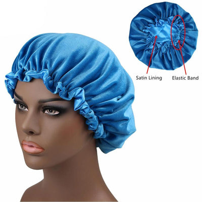 Sky Blue Satin Lined Velvet Bonnet - Taelor Boutique