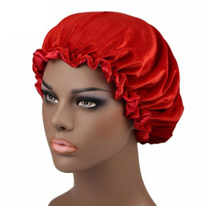 Red Satin Lined Velvet Bonnet - Taelor Boutique