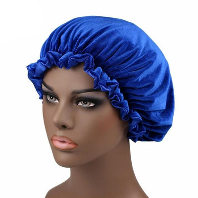 Royal Blue Satin Lined Velvet Bonnet - Taelor Boutique