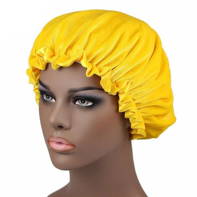 Yellow Satin Lined Velvet Bonnet - Taelor Boutique