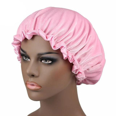 Pink Satin Lined Velvet Bonnet - Taelor Boutique