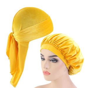 Yellow Velvet Durag And Wide Band Bonnet Set - Taelor Boutique