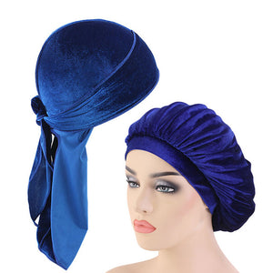 Royal Blue Velvet Durag And Wide Band Bonnet Set - Taelor Boutique