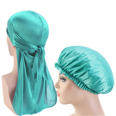 Turquoise Silky Durag And Bonnet Set - Taelor Boutique