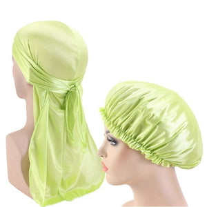 Fluorescent Green Silky Durag And Bonnet Set - Taelor Boutique