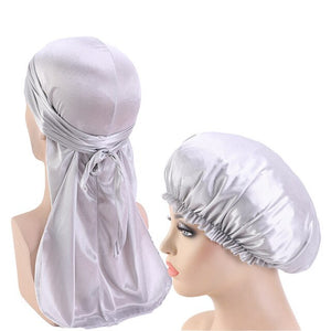Silver Silky Durag And Bonnet Set - Taelor Boutique