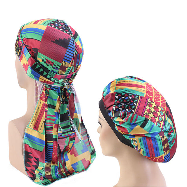 African Print #5 Silky Durag And Bonnet Set - Taelor Boutique