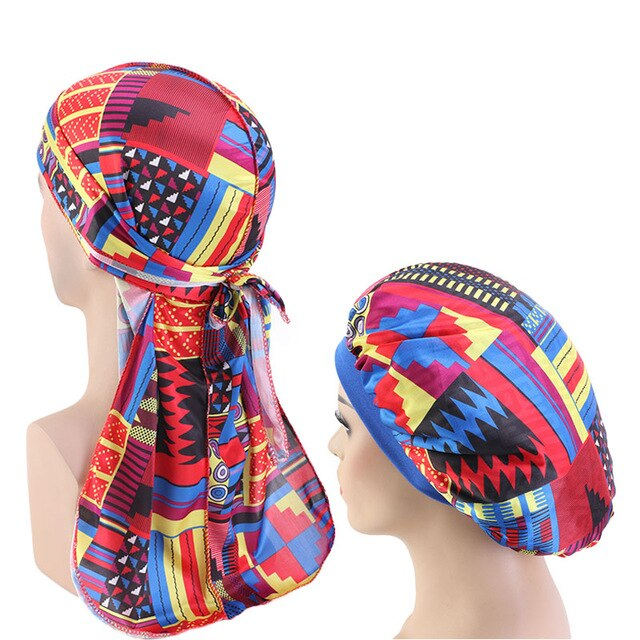 African Print #3 Silky Durag And Bonnet Set - Taelor Boutique