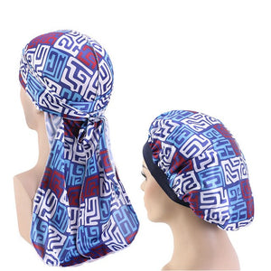 African Print #2 Silky Durag And Bonnet Set - Taelor Boutique