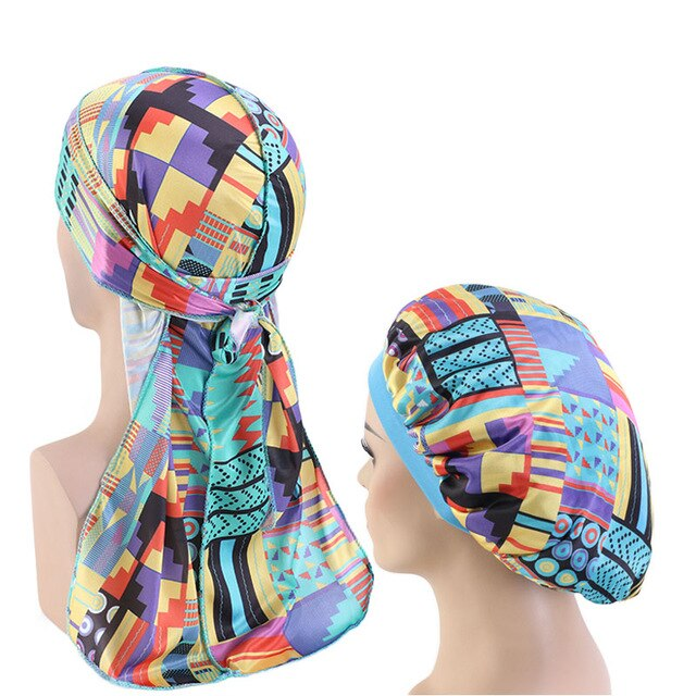 African Print #4 Silky Durag And Bonnet Set - Taelor Boutique