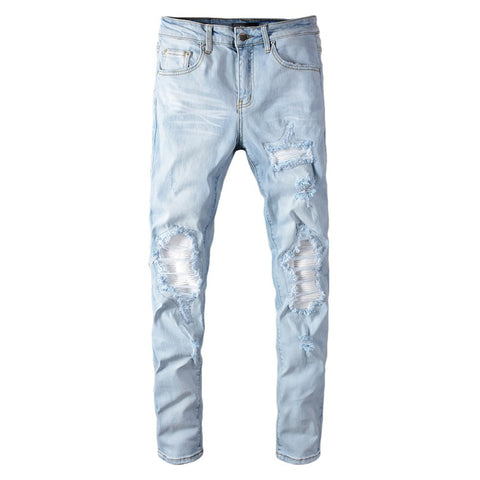 Light Blue White Ribbed Distressed Patchwork Jeans - Taelor Boutique