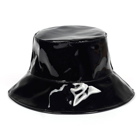 Black Shiny Faux Lather Bucket Hat