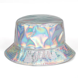 Iridescence Faux Lather Bucket Hat - Taelor Boutique