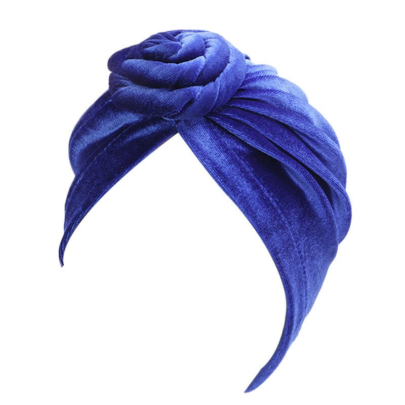 Royal Blue Velvet Knotted Turban - Taelor Boutique