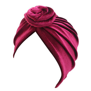 Red Velvet Knotted Turban - Taelor Boutique