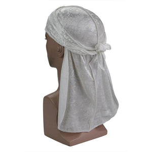 White Luxury Velvet Durag - Taelor Boutique