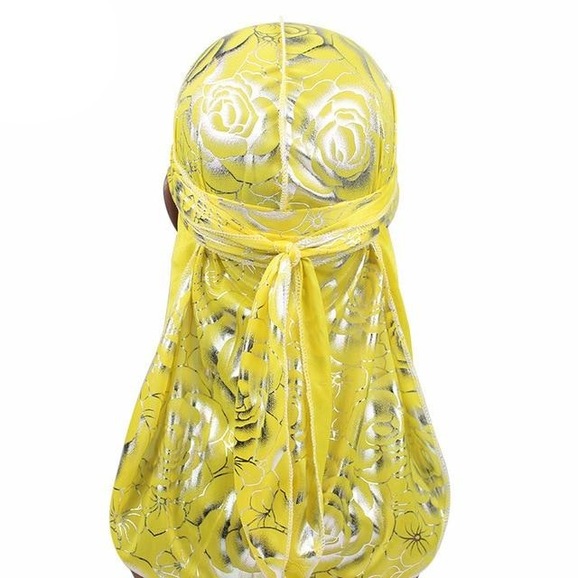 Yellow Floral Print Silky Durag - Taelor Boutique