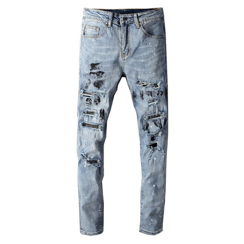 Blue Crystal Patchwork Paint Splatter Jeans - Taelor Boutique