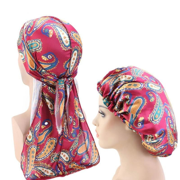 Reversible Wine Red Paisley Silky Durag & Bonnet Set - Taelor Boutique