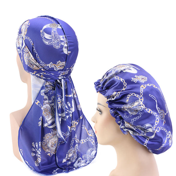 Reversible Royal Blue Chains Silky Durag & Bonnet Set - Taelor Boutique