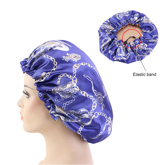 Reversible Royal Blue Chains Silky Bonnet - Taelor Boutique
