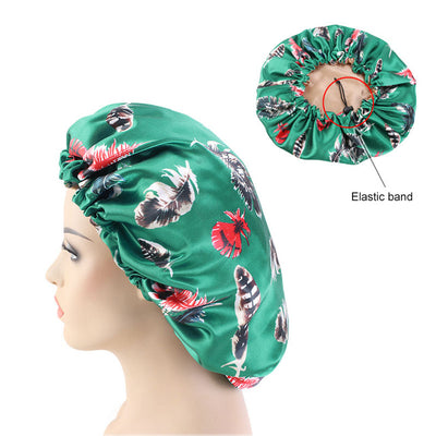 Reversible Green Feather Silky Bonnet - Taelor Boutique