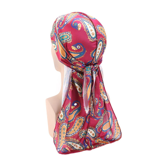 Wine Red Paisley Silky Durag - Taelor Boutique