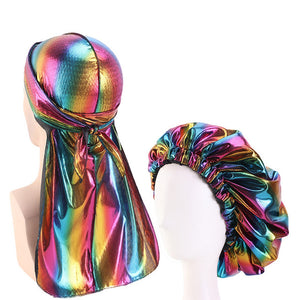 Multicolour #2 Shiny Durag & Extra Large Bonnet Set - Taelor Boutique
