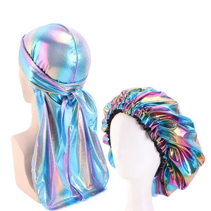Multicolour #3 Shiny Durag & Extra Large Bonnet Set - Taelor Boutique