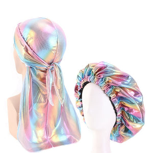 Multicolour #5 Shiny Durag & Extra Large Bonnet Set - Taelor Boutique