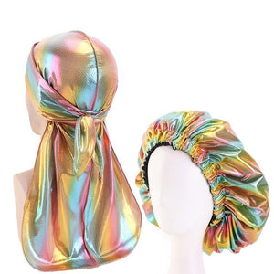 Multicolour #1 Shiny Durag & Extra Large Bonnet Set - Taelor Boutique