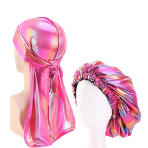 Multicolour #4 Shiny Durag & Extra Large Bonnet Set - Taelor Boutique