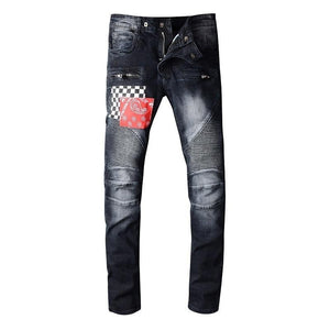 Black Washed Patchwork Biker Jeans - Taelor Boutique