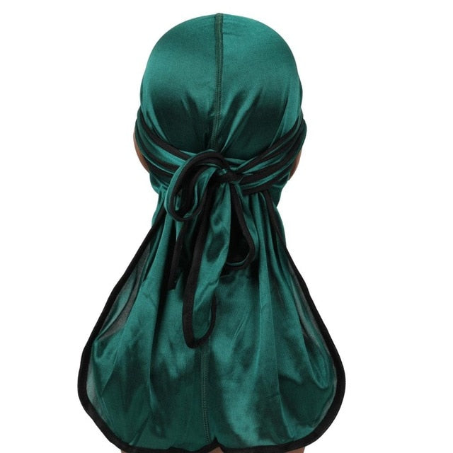 Green Silk Durag w/ Black Lining - Taelor Boutique