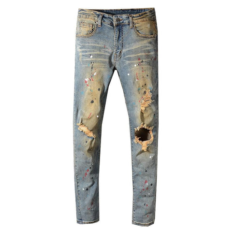 Vintage Blue Painted Ripped Jeans