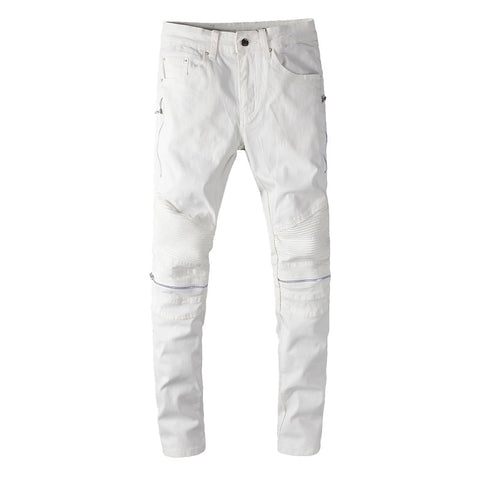 White Faux Leather Patchwork Biker Jeans - Taelor Boutique