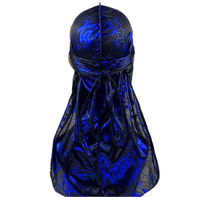 Blue Rose Print Silky Durag - Taelor Boutique