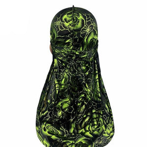 Black Green Rose Print Silky Durag - Taelor Boutique