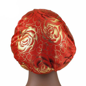 Red Rose Print Silky Bonnet - Taelor Boutique