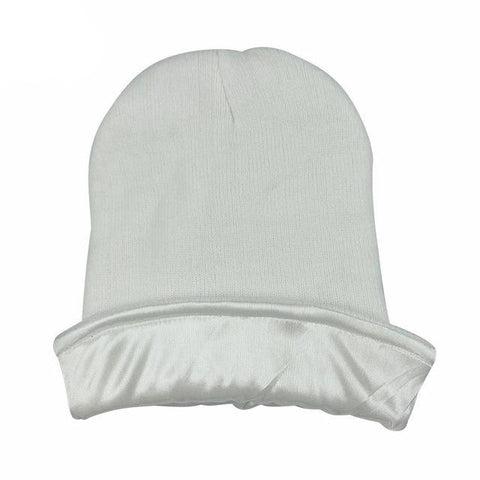 White Satin Lined Beanie - Taelor Boutique