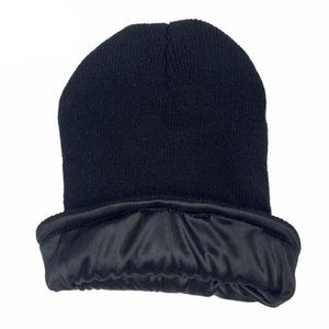 Black Satin Lined Beanie - Taelor Boutique