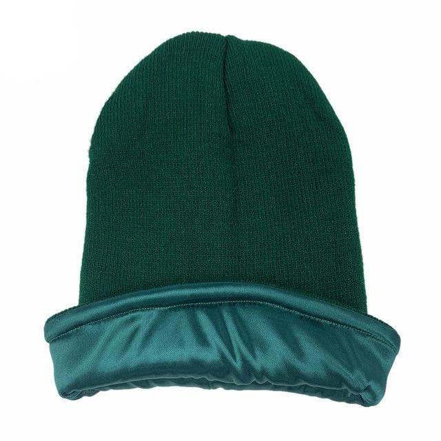 Dark Green Satin Lined Beanie - Taelor Boutique