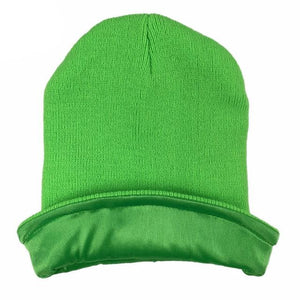 Green Satin Lined Beanie - Taelor Boutique