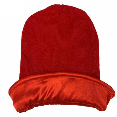 Red Satin Lined Beanie - Taelor Boutique