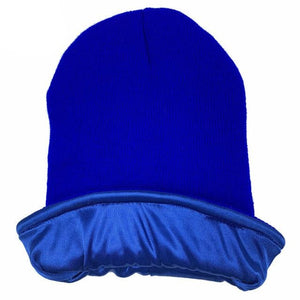Royal Blue Satin Lined Beanie - Taelor Boutique