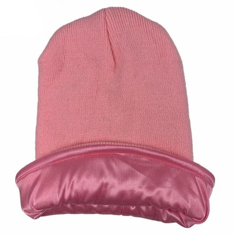 Pink Satin Lined Beanie - Taelor Boutique